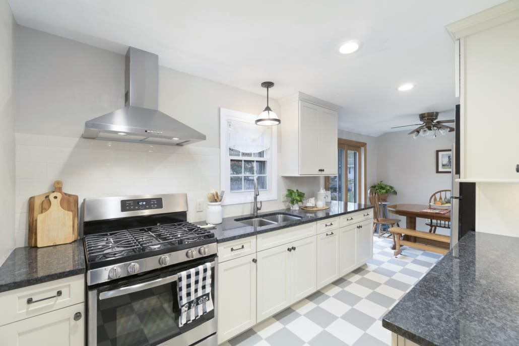 Modern White Galley Kitchen - Rhode Kitchen & Bath Design Build