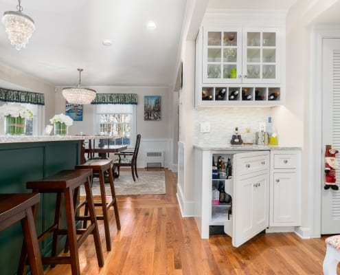 Colorful Transitional Kitchen Beverage Center