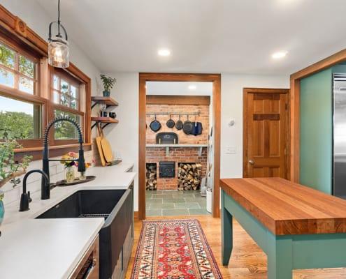 modern-farmhouse-green-kitchen-baking-station
