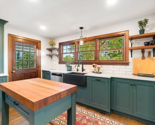 modern-farmhouse-green-kitchen-island